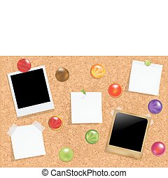Cork Bulletin Board - Cork Notice Board With Blank Colorful...