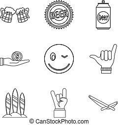Bout icons set, outline style - Bout icons set. Outline set...