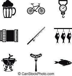 Fish soup icons set, simple style - Fish soup icons set....