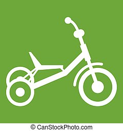 Tricycle icon green - Tricycle icon white isolated on green...
