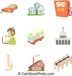 Outskirts icons set, cartoon style - Outskirts icons set....