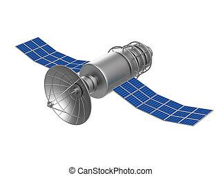 satélite, aislado, ilustración, fondo., blanco, 3d