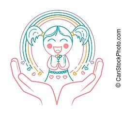 concept of giving birth girl - concept of giving birth to a...