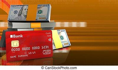 3d bank card - 3d illustration of dollars stack over orange...