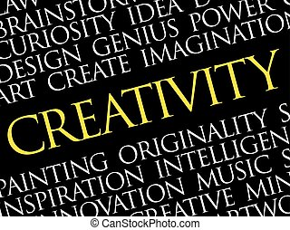 Creativity word cloud collage, creative business concept...