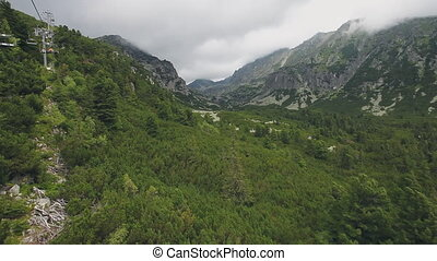 View from ski-lift cable car in Tatra mountains - Top view...