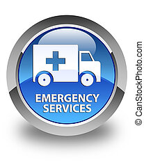 Emergency services glossy blue round button - Emergency...