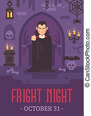 Halloween poster with a vampire in a dark crypt with skulls...