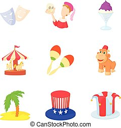 Street magic icons set, cartoon style - Street magic icons...