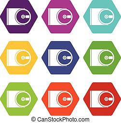 DVD drive open icon set color hexahedron - DVD drive open...