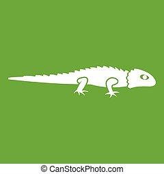 Iguana icon green - Iguana icon white isolated on green...