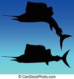 pez espada, negro, vector, Siluetas