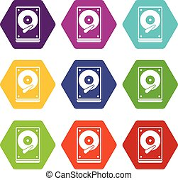 HDD icon set color hexahedron - HDD icon set many color...
