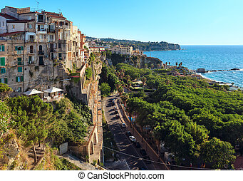 Tropea town view, Calabria, Italy, Tyrrhenian Sea evening...