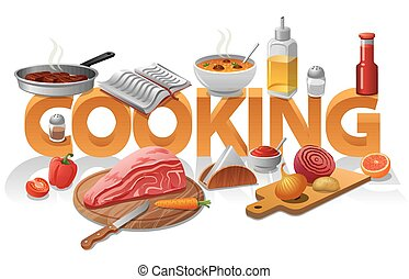 cooking food illustration - concept illustration of cooking...