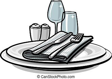 table setting on table - illustration of table setting with...