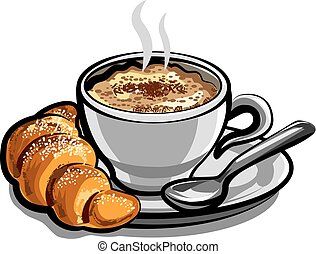 coffee cappuchino with croissant - illustration of hot...