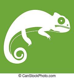 Chameleon icon green - Chameleon icon white isolated on...