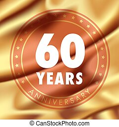 60 years anniversary vector icon, logo. Template design...