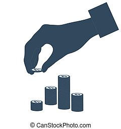 Hand that puts bitcoin in a stack of bitcoins.