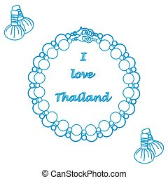Stylized icon of pearl necklace and herbal pouches for...