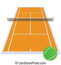 tennis court orange