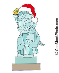 Statue of Liberty Pig - Statue of Liberty Pig with Santa...