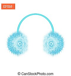 Realistic furry winter headphones isolated on white. Vector...