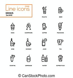 Food theme, alcohol and soft drinks - line design icons set....