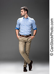 young man in casual clothing - handsome young man in casual...