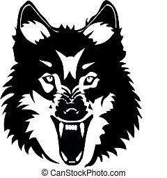 Wolf illustration - Wolf snarling at something