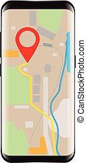 Navigator application on smartphone mock up. Illustrated...