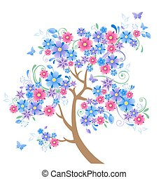 blue flowering tree and butterflies on a  white background