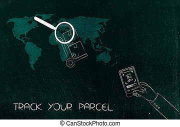 parcel with magnifying glass over world map and hand holding...