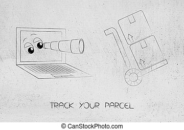 laptop with eyes and monocle staring at parcels - track your...