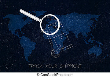 parcel with magnifying glass analizying it over world map...