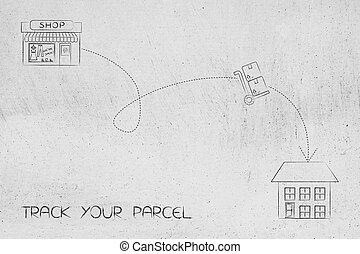 parcel with dashed path from shop to delivery address -...