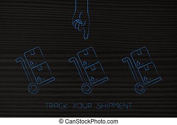 group of parcels and hand pointing at one - track your...