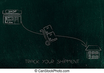 parcel going from the shop to the recipient's home - track...