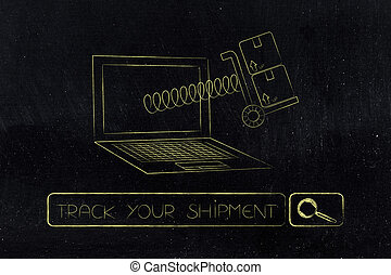 parcel coming out of laptop screen on a spring - track your...