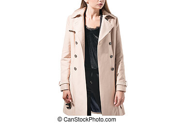 girl in classic trench coat - cropped view of stylish girl...