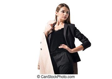 girl in trench coat - beautiful elegant girl posing in black...