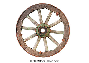 old cartwheel isolated on a white background