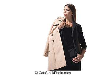 woman in trench coat - stylish attractive woman posing in...