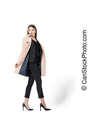 girl in suit and trench coat - lovely beautiful girl posing...
