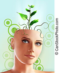 Green idea - A new plant growing out of a woman's head. 3d...