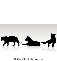 three bengal tiger vector silhouettes