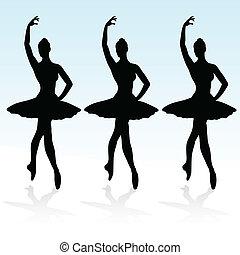 three ballerinas on the podium