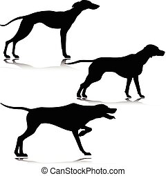 three black dog vector silhouettes