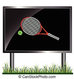 tennis racket on billboard vector